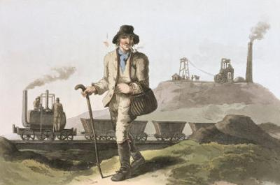 Blenkinsop Locomotive at Middleton Colliery Near Leeds, Costume of Yorkshire Engraved Havell