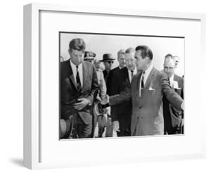 George Wallace Stepping Aside as Pres John Kennedy Walks to Platform at Muscle Shoals, Alabama