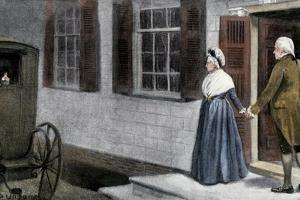 George Washington and His Wife Martha Saying Farewell to Guests at Mount Vernon