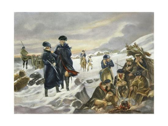 George Washington and Marquis Lafayette at Valley Forge after Alonzo Chappel--Giclee Print