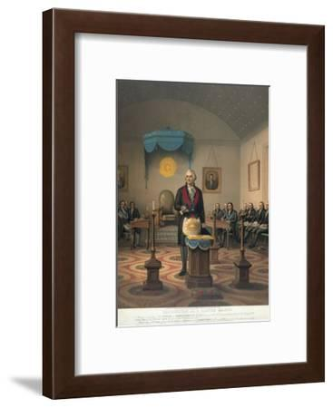 George Washington at Meeting of Masonic Lodge--Framed Giclee Print