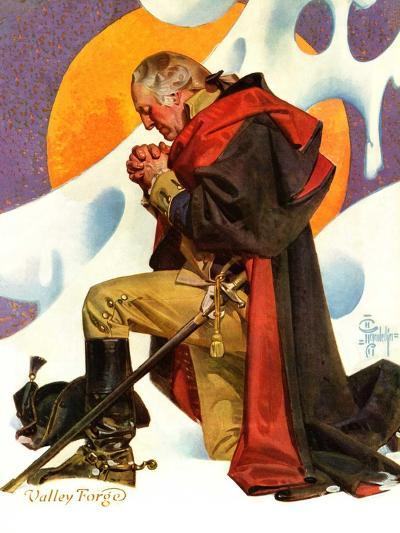 """George Washington at Valley Forge,""February 23, 1935-Joseph Christian Leyendecker-Giclee Print"