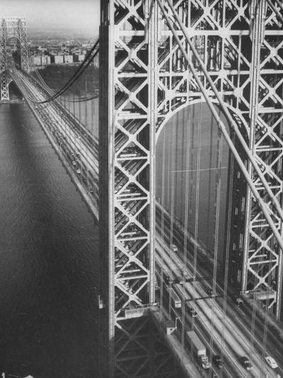 George Washington Bridge with Manhattan in Background-Margaret Bourke-White-Photographic Print