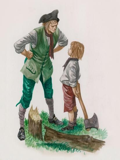 George Washington, Having Cut Down the Cherry Tree, with His Father Giclee  Print by Peter Jackson | Art.com