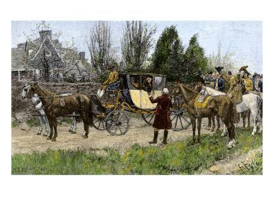 George Washington Met by His Virginia Neighbors on His Way to This First Inauguration, 1789--Giclee Print