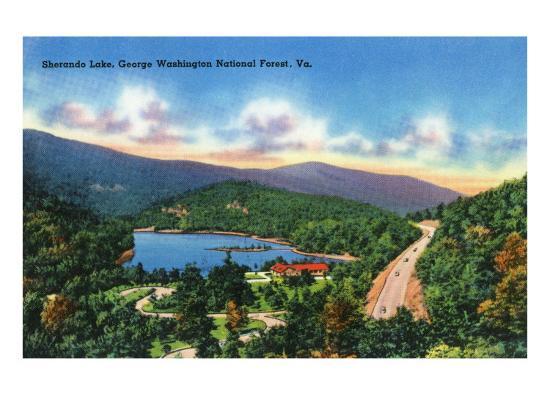 George Washington Nat'l Forest, Virginia - Aerial View of Sherando Lake, c.1956-Lantern Press-Art Print