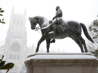 George Washington Watches over the Cathedral in 'Blizzard of 2010'-Stephen St^ John-Photographic Print
