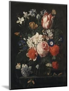 A Rose, a Tulip, Morning Glory, and Other Flowers in a Glass Vase on a Stone Ledge, 1671 by George Wesley Bellows