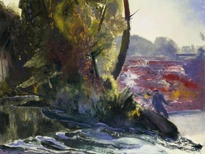 Fisherman and Stream, 1920