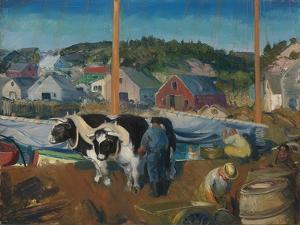 Ox Team, Wharf at Matinicus, 1916 by George Wesley Bellows
