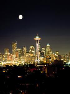 Full Moon, Seattle Skyline, WA by George White Jr.