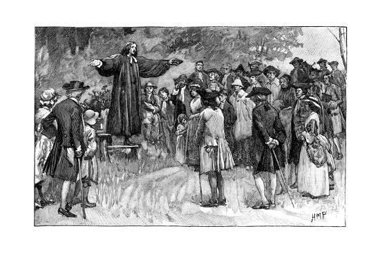 George Whitefield Preaching in the Open Air C1870--Giclee Print