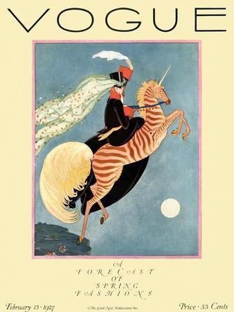 Vogue Cover - February 1927 - Flying Zebra