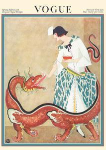Vogue Magazine - February 1923 - Woman Feeding a Chinese Dragon by George Wolfe Plank