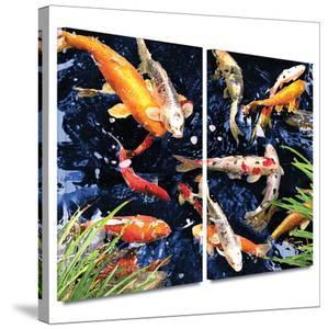 Koi 2 piece gallery-wrapped canvas by George Zucconi