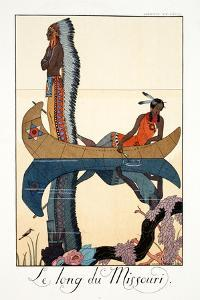 Along the Missouri, from 'Falbalas and Fanfreluches, Almanach des Modes Présentes, Passées et… by Georges Barbier