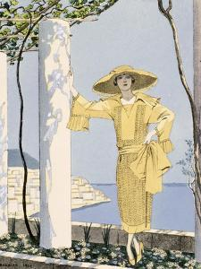 Amalfi, Illustration of a Woman in a Yellow Dress by Worth, 1922 by Georges Barbier