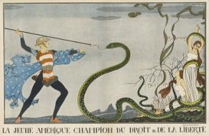 America Comes to the Rescue of Justice and Liberty by Georges Barbier