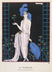 Asymmetrical Evening Gown by Worth with a Low Diagonal Waistline and a Long Flowing Train by Georges Barbier