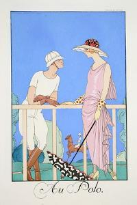At the Polo, from 'Falbalas and Fanfreluches, Almanach Des Modes Présentes, Passées Et Futures' by Georges Barbier