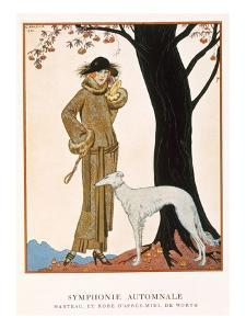 Autumnal Symphony, Afternoon Coat and Dress by Worth, from 'Gazette De Bon Ton' No.9, 1922 by Georges Barbier