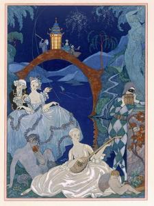 Ball under the Blue Moon, Illustration For Fetes Galantes by Paul Verlaine by Georges Barbier