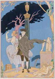 Broken Hearts, Broken Statues, Illustration for 'Fetes Galantes' by Paul Verlaine (1844-96) by Georges Barbier