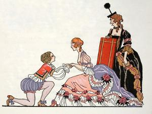 Cinderella with Prince Charming, Her Stepmother Looks on by Georges Barbier