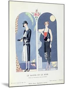 Day and Night, Plate 47 from 'La Gazette Du Bon Ton' Depicting Day and Evening Dresses, 1924-25 by Georges Barbier