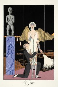 Evening, from 'Falbalas and Fanfreluches, Almanach des Modes Présentes, Passées et Futures', 1926 by Georges Barbier