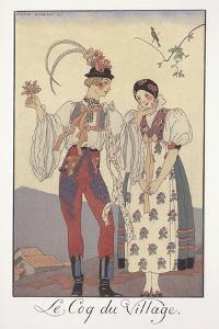 Falbalas Et Fanfreluches, Almanac for 1922, Le Coq Du Village by Georges Barbier