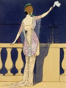 'Farewell at Night', design for an evening dress by Jeanne Paquin, early 20th century by Georges Barbier