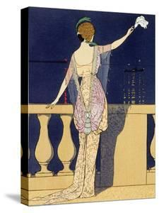 Farewell at Night, Design for an Evening Dress by Paquin by Georges Barbier
