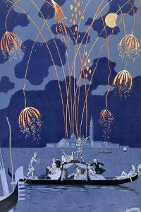 'Fireworks in Venice', 1924 by Georges Barbier