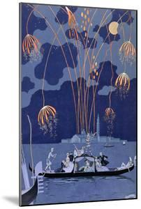 Fireworks in Venice, Illustration for Fetes Galantes by Paul Verlaine 1924 by Georges Barbier