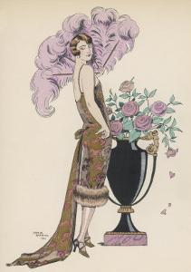 Frock Fur and Feather Fan by Georges Barbier