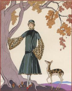 Fur Hat and Coat by Worth by Georges Barbier