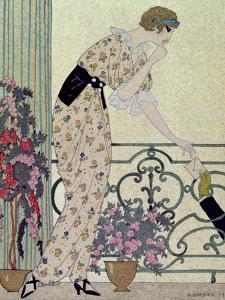 """Gazette du Bon Ton, Costume, """"N'en Dites Rien"""", a Lady Standing on a Balcony Receiving a Letter by Georges Barbier"""