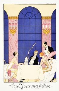 Gluttony, from 'Falbalas and Fanfreluches, Almanach des Modes Présentes, Passées et Futures', 1925 by Georges Barbier