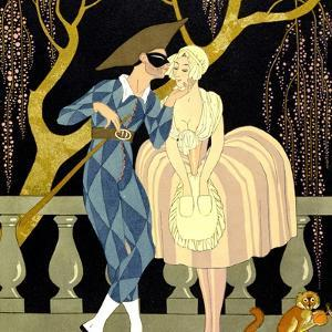 Harlequin's Kiss (W/C on Paper) by Georges Barbier