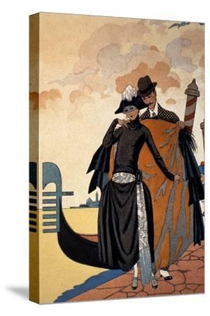 Her and Him, Fashion Illustration, 1921 (Pochoir Print)