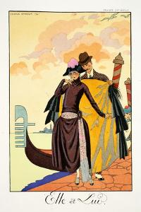Her and Him, from 'Falbalas and Fanfreluches, Almanach des Modes Présentes, by Georges Barbier