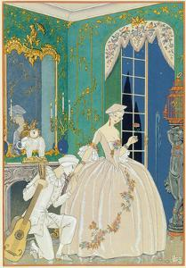 Illustration for 'Fetes Galantes' by Paul Verlaine (1844-96) 1923 (Pochoir Print) by Georges Barbier