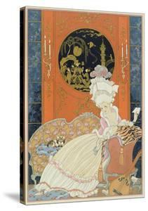 Illustration for 'Fetes Galantes' by Paul Verlaine (1844-96) 1928 (Pochoir Print) by Georges Barbier