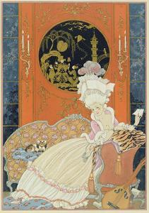 Illustration for 'Fetes Galantes' by Paul Verlaine (1844-96) 1928 (Pochoir Print) by Georges Barbier