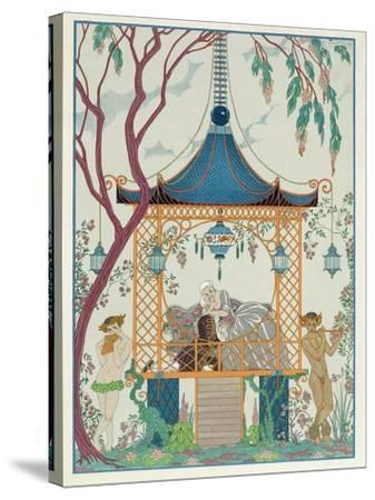 Illustration for 'Fetes Galantes' by Paul Verlaine (1844-96) Published 1928 (Pochoir Print)