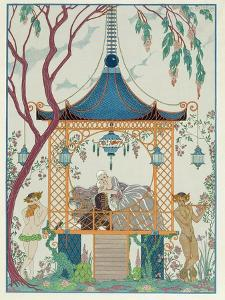 Illustration for 'Fetes Galantes' by Paul Verlaine (1844-96) Published 1928 (Pochoir Print) by Georges Barbier