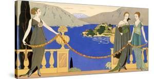 Isola Bella, Evening Dresses Designed by Redfern, Plate 57 from 'Gazette Du Bon Ton', June 1914 by Georges Barbier