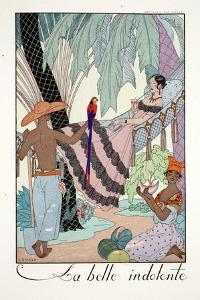 La Belle Indolente, from 'Falbalas and Fanfreluches, Almanach des Modes Présentes, Passées et… by Georges Barbier
