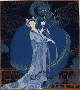 Lady With a Dragon by Georges Barbier